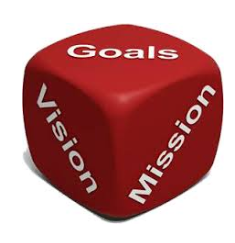 Picture of a die with Vision Mission and Goals